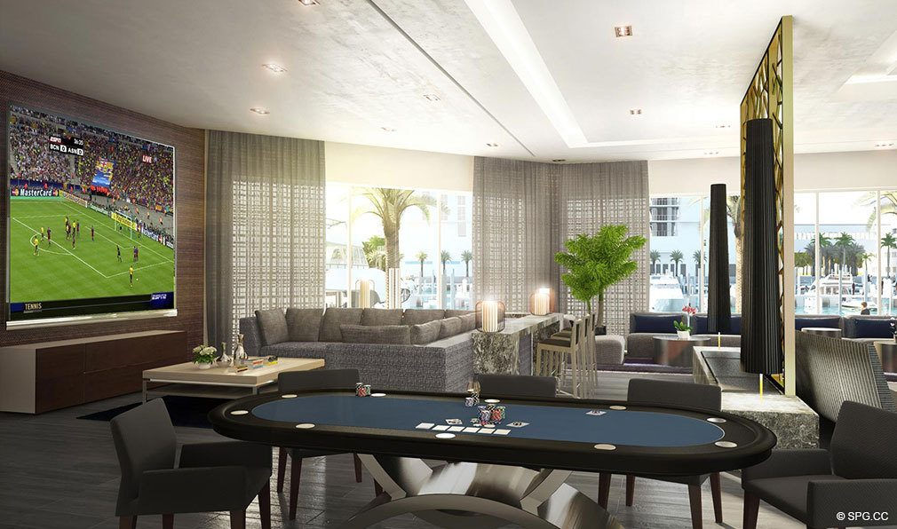 Club Room at Marina Palms Yacht Club, Luxury Waterfront Condominiums Located at 17201 Biscayne Blvd, North Miami Beach, FL 33160