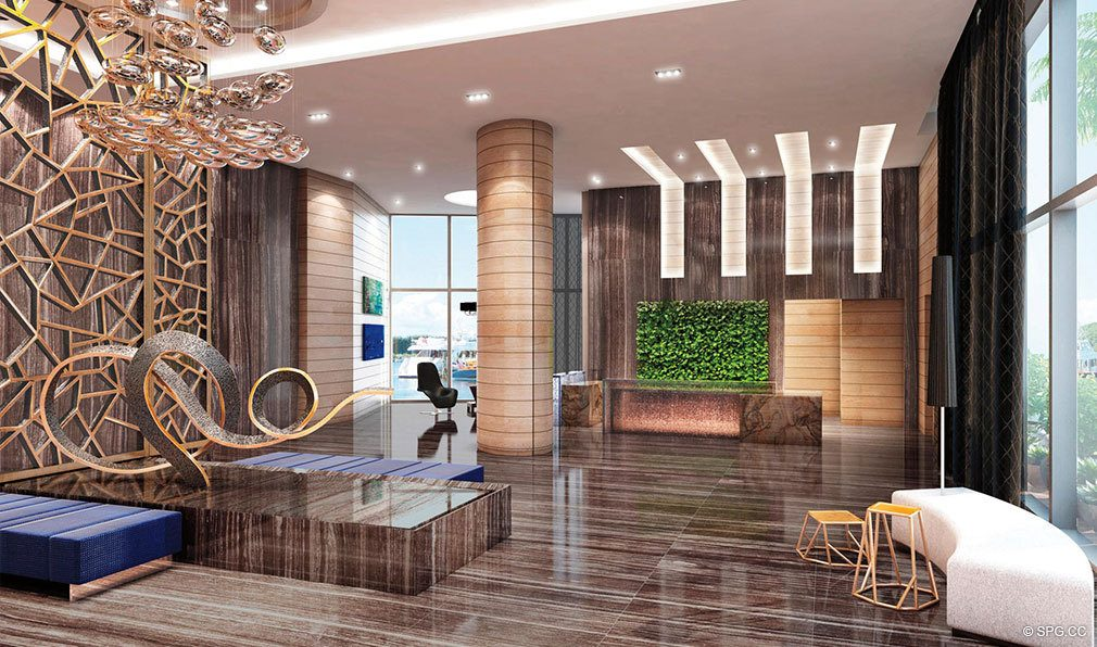 Marina Palms Yacht Club Modern Lobby, Luxury Waterfront Condominiums Located at 17201 Biscayne Blvd, North Miami Beach, FL 33160