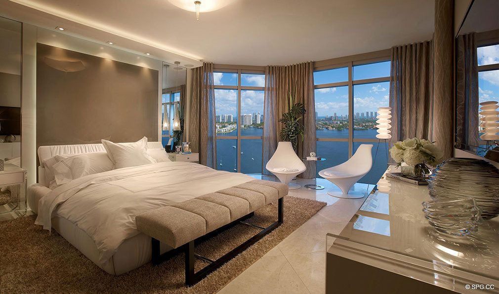 Marina Palms Yacht Club Bedroom, Luxury Waterfront Condominiums Located at 17201 Biscayne Blvd, North Miami Beach, FL 33160