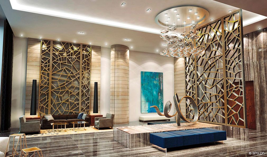 Contemporary Lobby at Marina Palms Yacht Club, Luxury Waterfront Condominiums Located at 17201 Biscayne Blvd, North Miami Beach, FL 33160