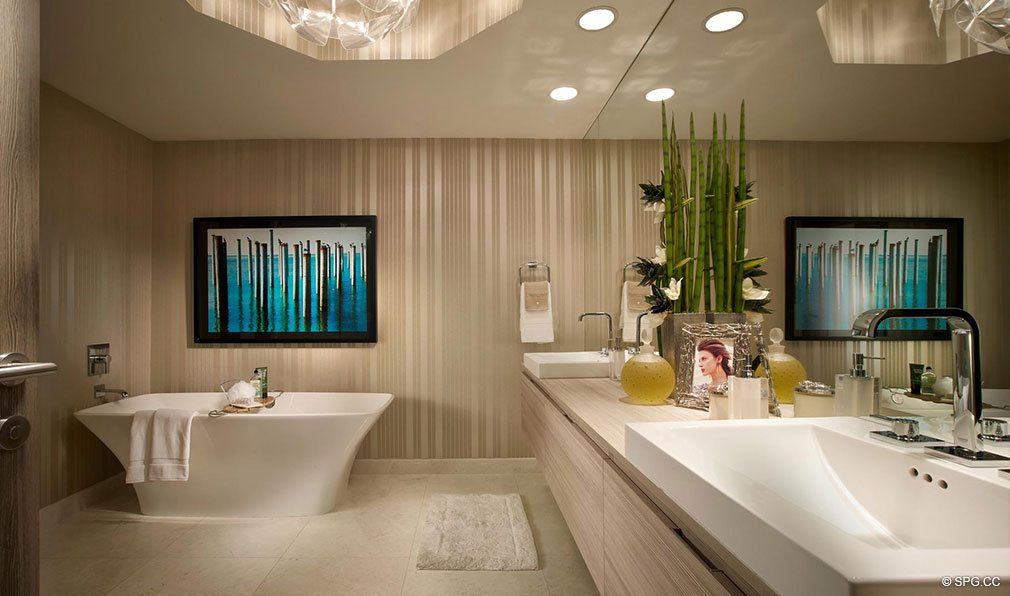 Marina Palms Yacht Club Master Bathroom, Luxury Waterfront Condominiums Located at 17201 Biscayne Blvd, North Miami Beach, FL 33160