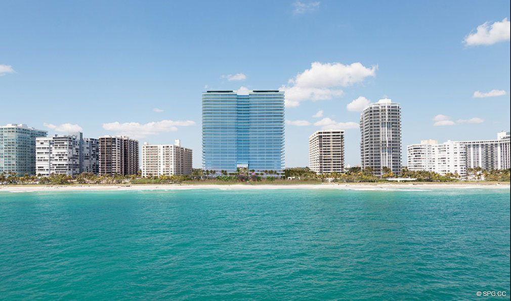 View of Oceana Bal Harbour from the Water, Luxury Oceanfront Condominiums at 10201 Collins Ave, Bal Harbour, FL 33154