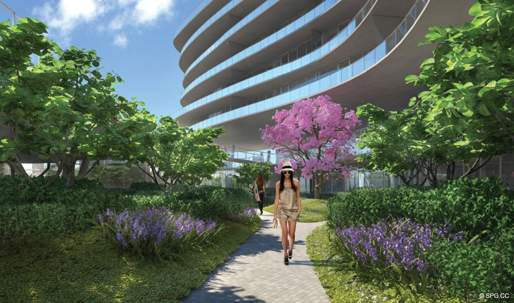One Ocean Lush Landscaping, Luxury Oceanfront Condominiums Located at 91 Collins Ave, Miami Beach, FL 33139