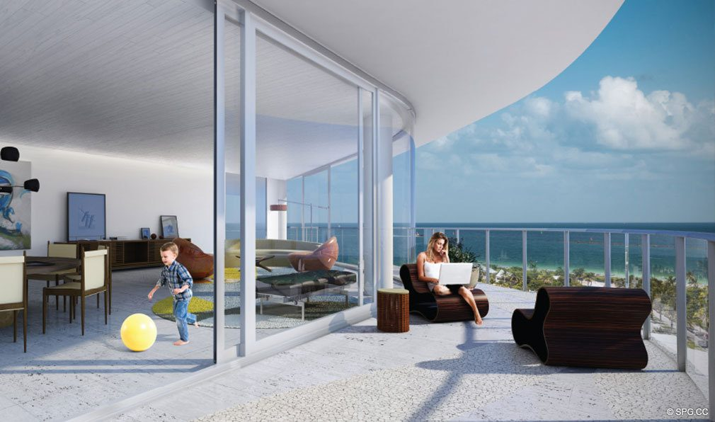 Living Room and Terrace at One Ocean, Luxury Oceanfront Condominiums Located at 91 Collins Ave, Miami Beach, FL 33139