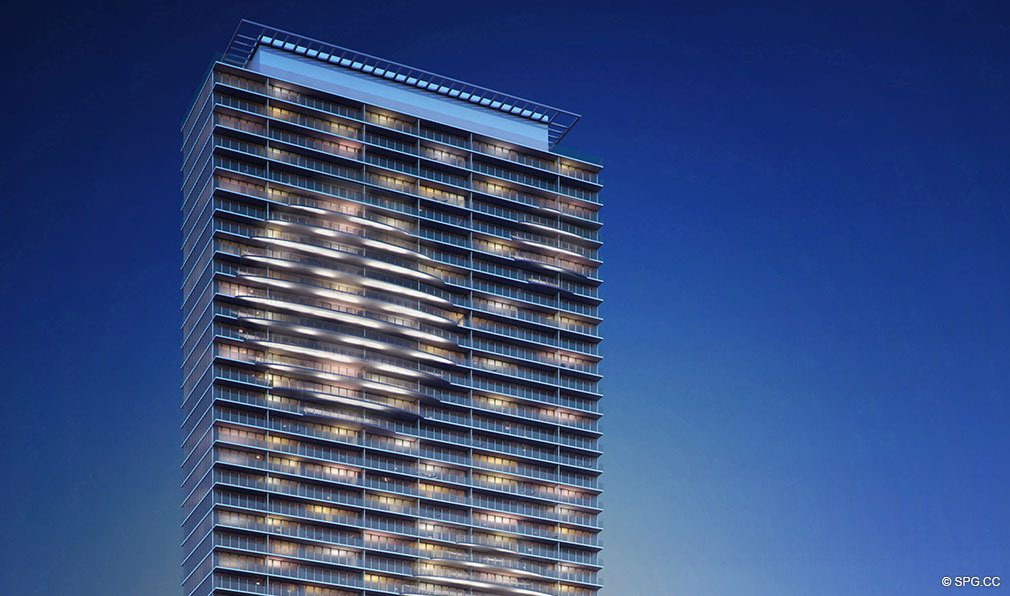 One Paraiso at Night, Luxury Waterfront Condominiums Located at 701 NE 31st St, Miami, FL 33137