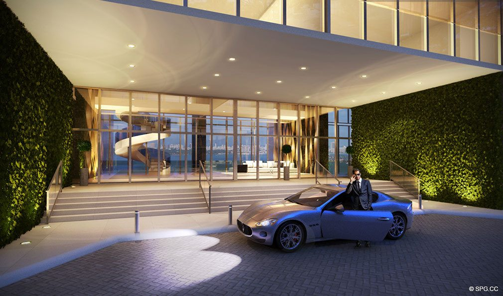 One Paraiso Entrance, Luxury Waterfront Condominiums Located at 701 NE 31st St, Miami, FL 33137