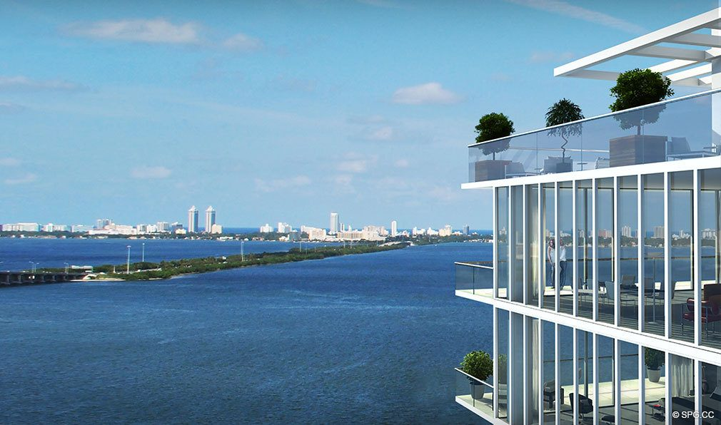 Water Views from One Paraiso, Luxury Waterfront Condominiums Located at 701 NE 31st St, Miami, FL 33137