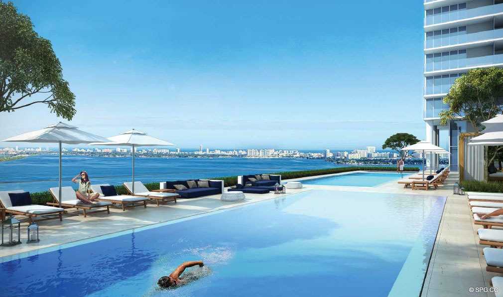 One Paraiso Pool Deck, Luxury Waterfront Condominiums Located at 701 NE 31st St, Miami, FL 33137