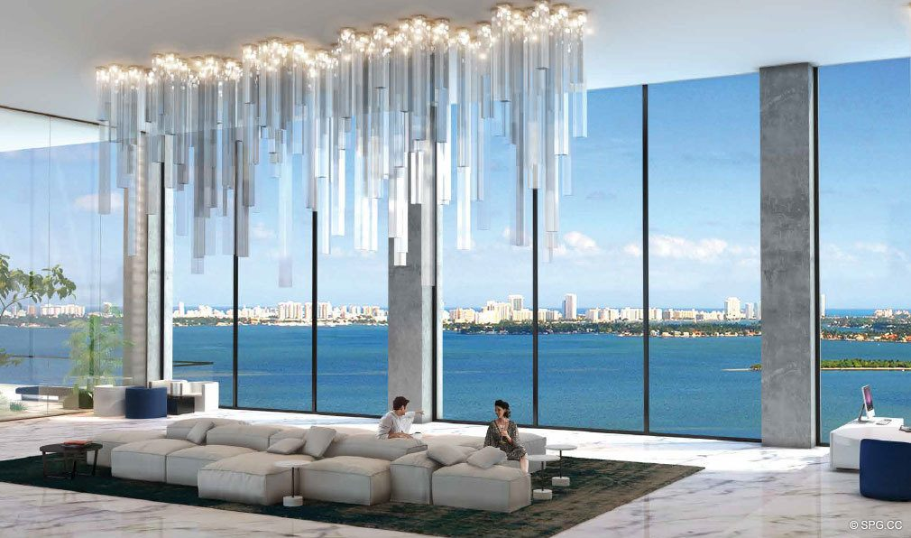 Bay Views from One Paraiso, Luxury Waterfront Condominiums Located at 701 NE 31st St, Miami, FL 33137