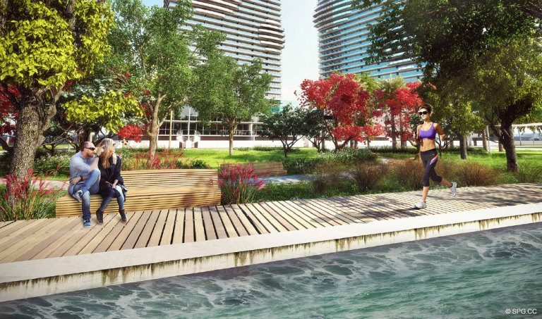 Outdoor Trails at Paraiso Bay, Luxury Waterfront Condominiums Located at 600 NE 31st St, Miami, FL 33137