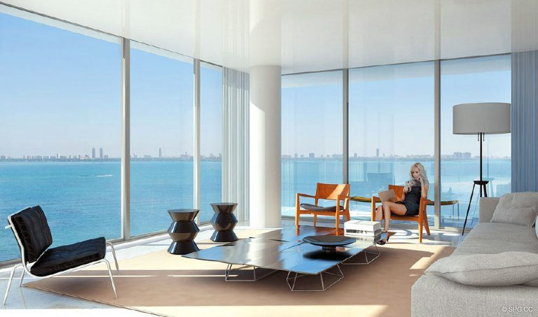 Living Room at Paraiso Bay, Luxury Waterfront Condominiums Located at 600 NE 31st St, Miami, FL 33137