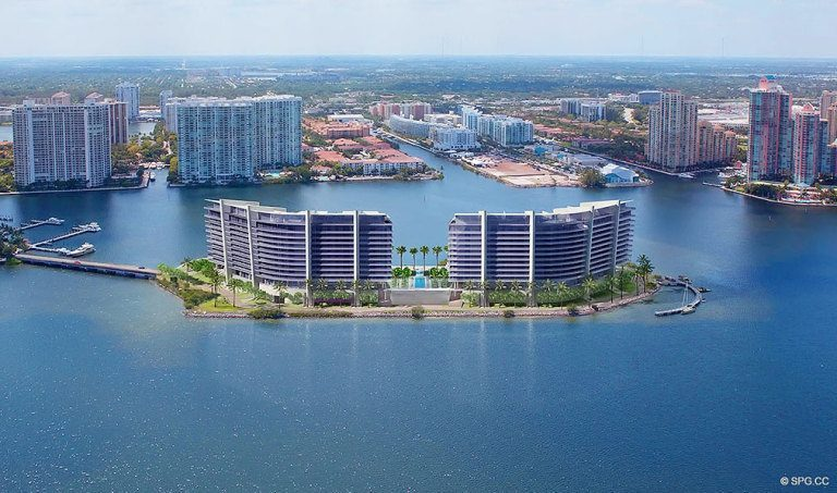 View of Prive, Luxury Waterfront Condominiums Located at 5000 Island Estates Blvd, Aventura, FL 33160