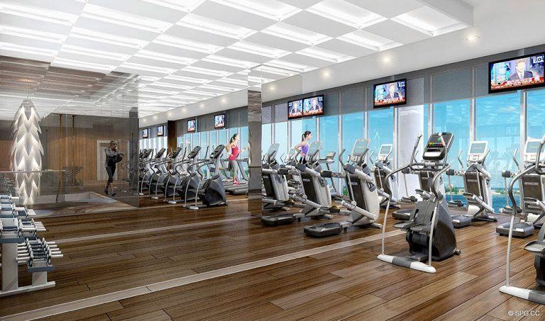 Fitness Center at Prive, Luxury Waterfront Condominiums Located at 5000 Island Estates Blvd, Aventura, FL 33160