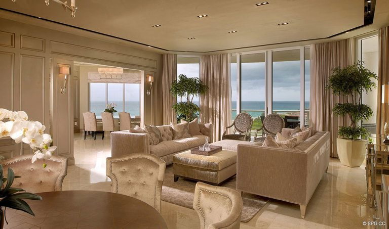 Ritz-Carlton Residences Living Room, Luxury Oceanfront Condominiums Located at 2700 N Ocean Dr, Palm Beach, FL 33404